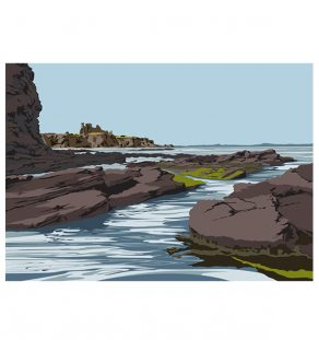 Tantallon Castle & harbour approach.ianmitchellart.com